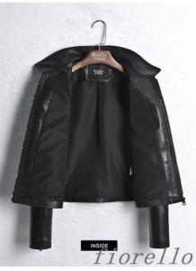 バイクジャケット レディース 春秋冬 レザージャケット ファッション ラム革 本革ジャケット  ライダースジャケット 革ジャン