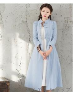 アウター コート トレンチコート ハイネック 羽織 チャイナドレス 女性 中国風 ワンピース シンプル ロングコート レディース