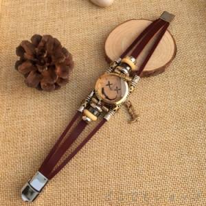 お買い得!ブレスレット♪ ペア カップル レトロガール ギフト 腕時計 おしゃれ!レディス ブレス 紐 ウォッチ レザー ラウンド 雑誌流行