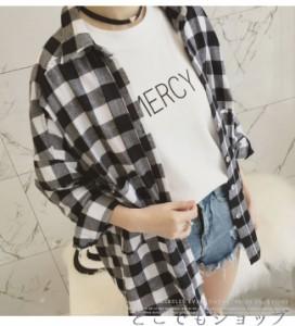 ゆるシャツ チェック柄 シャツ レディース トップス ブラウス 長袖【2018春新作】