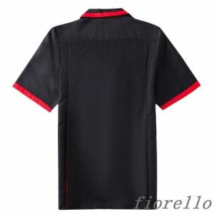 シャツ メンズ 半袖 カジュアルシャツ 無地 切り替え トップス 新作 配色