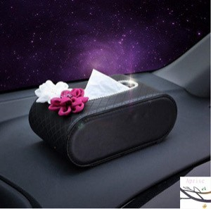 ティッシュボックス ティッシュケース カバー ビジュー付き レザー製 車内収納 車用 アクセサリー 車内便利 おしゃれ
