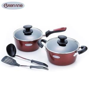 BRONANO(ブラナーノ) IH対応 両手鍋20cm&片手鍋18cm 2点セット(お玉・ターナー付) BM-9530