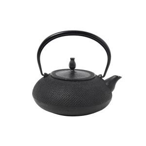 南部鉄器 宝生堂 IH対応鉄瓶 鉄蓋  平丸アラレ 1.2L 黒 700091 南部鉄器の鉄瓶でまろやかなお茶を