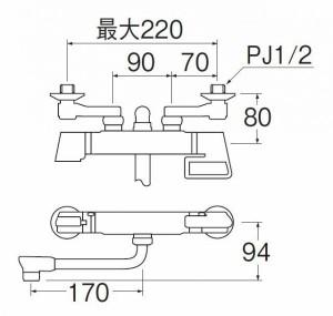 三栄水栓 SANEI サーモシャワー混合栓 SK1812DK 壁付けのサーモシャワー混合栓