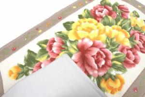 プリントインテリアマット フローレンス 45×75cm  ベージュ 5103 純国産 見た目も鮮やかな洗えるプリント玄関マット