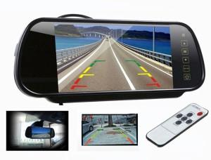 7インチ ルームミラーバックモニター バックカメラ自動切換え機能付きリモコン付き タッチボタン TFT/LCD液晶 700h