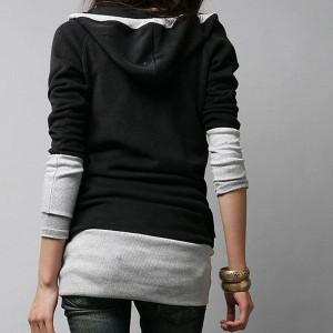 長袖 フード付きカットソートップス バイカラー フェイク風 チュニックシャツ tb