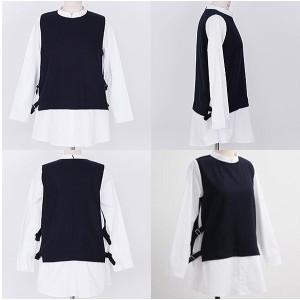 レイヤード風 ベスト×長袖 ロング丈シャツ オーバーブラウス tb