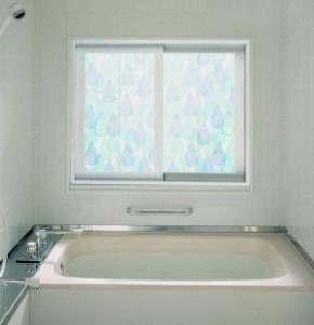 浴室目隠しシート 92cm丈×90cm巻 柄 ブルー(B) YMS-9204