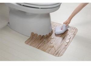 サンコー おくだけ吸着 ウッド調拭けるトイレマット ショート LBE(ライトベージュ) KM-39