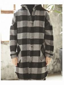 アウター レディース 大きいサイズ チェックシャツコート ブロックチェック 【jk013】 *a