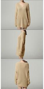 ワンピース レディース ワンピ ニットチュニック ニット Vネック セーター大きいサイズ ゆったり トップス 【w109】 *a