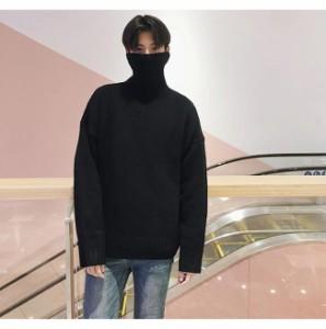 メンズファッション 男性 トップス 肌に優しい 韓国風 カジュアル タートルネック セーター あったか厚手 ニット 無地