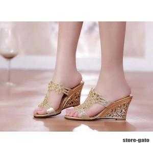 レディース美足サンダル 靴 大人可愛いフラワーウェッジソール ビジュー 大きいサイズ ミュール 二次会 お呼ばれ  結婚式 2色 痛くない