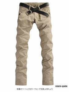 チノパンツ メンズ ロングパンツ スキニーパンツ ストレートパンツ ポケット付き ボタン付き 無地パンツ カジュアルパンツ