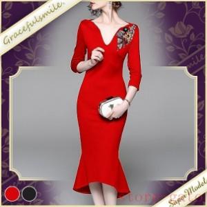お呼ばれワンピース 結婚式 ドレス ワンピース タイト 披露宴 長袖  黒 ブラックフォーマル クリスマス 赤 二次会 ワイン ビジュー