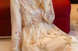 結婚式 ワンピース パーティードレス パーティドレス キラキラ ステージ スパンコール レディース ピンク 長袖 お呼ばれワンピース
