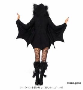 コスプレ コスチューム ハロウィン ブラック レディース オーバーオール 魔女 仮装パーティー パーティー仮装 仮装グッズ 耳 フード付き