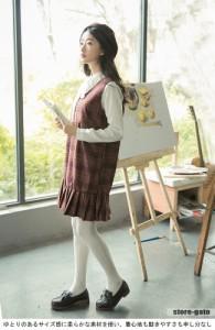 シャツ+ベストワンピの2点セット レディース チェック柄 スクール風 リボン付き ベスト 春秋物 ブラック ミニ丈 ワンピース 女性用