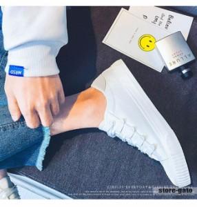 メンズシューズ スニーカー キャンパスシューズ 原宿 無地 紐靴 大きいサイズ 韓国風 パッチワーク 格好いい 合皮 ひも 個性
