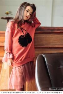 キッズ ワンピース 女の子 スカート付き イラスト 親子服 長袖 スウェットトレーナー ゆったり チュールワンピース チュール フェイクレ