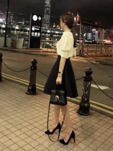 ミニスカート レディース ボトムス 厚手 ブラック ハイウェストスカート フレアスカート