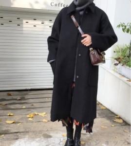 レディース コクーンコート オーバーコート アウター ステンカラーコート ラシャコート ゆったり ロング丈
