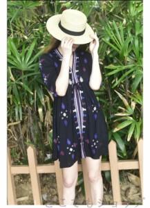 夏ワンピ マキシ丈ワンピース ワンピース 夏ワンピ 民族風 刺繍 カジュアル エスニックな雰囲気のシルエットがきれいなマキシワンピース