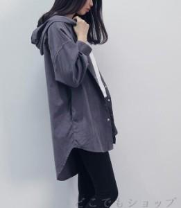 スプリングコート レディース コールテン シャツジャケット 薄手 長袖 フード付き