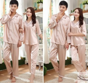 カップル セットアップ 部屋着 シルク シルクナイトウェア レディース用 パジャマ長袖 前開き 新婚お祝い メンズパジャマ プレゼント 絹