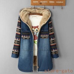 デニムジャケット 裏起毛 ジャケット 新作 柄 カジュアル 秋冬コート レディース フード ショート丈コート ジャケット 切り替え ジャケッ