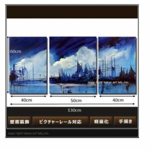 アート パネル 絵画 壁掛け 壁面装飾 風景画 3枚組 オリジナルハンドメイドアート 手描きの油彩画 色鮮やかで綺麗です / 病院 事務所