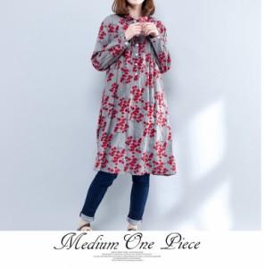 森ガール ロングシャツ 花柄 チュニック シャツワンピース ゆったり カジュアル 大きいサイズ 長袖
