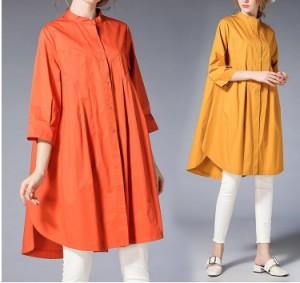 フェミニン レトロ 大きいサイズ レディース シャツチュニック 合わせやすい ロング丈 大きいサイズの服