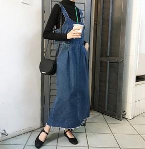 カジュアル 大きいサイズ レディース デニムロングジャンパースカート ビッグ 海外セレブ 体型カバー