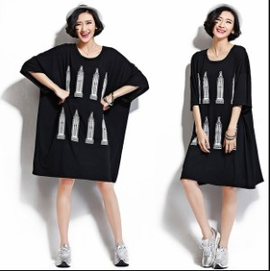 カジュアル 半袖チュニック 大きいサイズ レディース ファッション プリントデザインワンピ 海外セレブ
