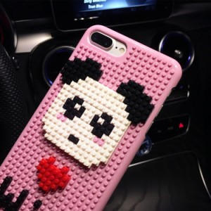 iphone6s ケース iphone6 ケース  アイフォン6sケース  スマホケース 保護カバー 背面カバー 積み木 立体 クマ ピンク/LOVE ブラック
