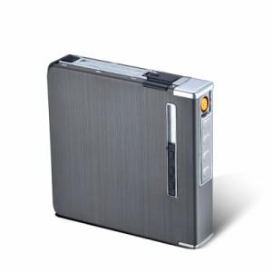 USB充電式防風ライターを持つアルミニウム金属の自動タバコケースボックスは、20個のタバコを保持することができます