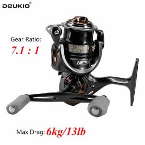 DEUKIO 5 + 1ベアリング7.1:1高速比スピニングイカ釣りリールメタルスプール左右交換可能