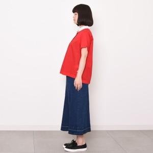 プードゥドゥ(POU DOU DOU)/衿先花切り替え半袖ブラウス