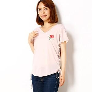 イーハイフンワールドギャラリー(E hyphen world gallery)/・サイドレースアップ刺繍Tシャツ