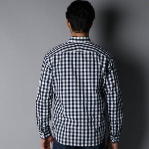 ライトオン(メンズ)(Right−on)/【BARNS】インディゴギンガムボタンダウンシャツ メンズ
