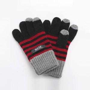 ワスク(WASK)/配色ボーダーニット手袋