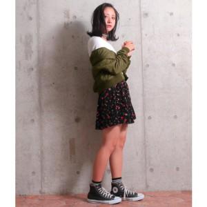 アナップキッズ&ガール(ANAP KIDS&GIRL)/花柄ベロアインパンツスカート