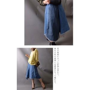 ゴールドジャパン(大きいサイズ)(GOLDJAPAN)/【LL−4L】裾フリンジデニムスカート