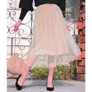 チル(CHILLE)/パール付ベロアチュールスカート