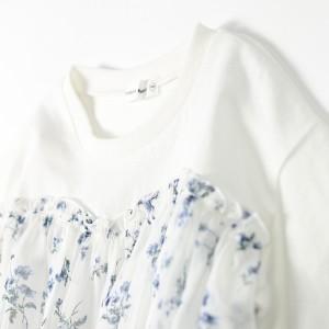 ブランシェス(branshes)/【限定】花柄シフォン切替8分袖チュニック