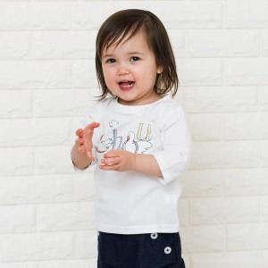 シップス キッズ(SHIPS KIDS)/SHIPS KIDS:ホワイトアニマル プリント ベビー 7分袖 TEE(80〜90cm)