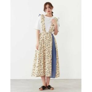 プードゥドゥ(POU DOU DOU)/更紗花柄サス付きギャザースカート